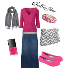 I have shoes like that and a scarf like that.... and the skirt of course... and I was gonna buy a pink cardi! awesome!
