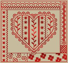 I love this red heart cross stitch! with chart! Great Site! Free Cross Stitch Patterns