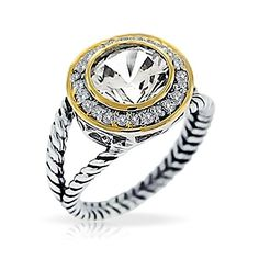 Bling Jewelry Sterling Silver Round CZ Double Cable Ring >>> Click image to review more details.Note:It is affiliate link to Amazon.