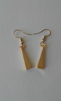 Dangle & drop earrings with real gold plated triangle metal finding / Minimal earrings / Classic earrings / Triangle, Dangles, Plating, Minimal, Drop Earrings, Metal, Classic, Shop, Gold