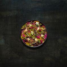 Salades de betteraves multicolores et soja mariné, crescenza et sisho vinaigrette miel yuzu- 8 euros Crédit photo : thibaud larrieu gibier (TLG)
