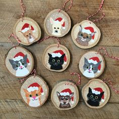 Custom Pet Ornament - Christmas Ornament - Cat Ornament - Dog Ornament - Animal Ornament,Personalized Animal Ornament - Pet Personallized Ornament - Christmas Ornament Decoration - Cat - Dog Decoration - Animal Ornament How To Make Wood Ar. Painted Christmas Ornaments, Dog Ornaments, Hand Painted Ornaments, Wooden Ornaments, Personalized Ornaments, Christmas Wood, Christmas Cats, Christmas Decorations, Christmas Christmas
