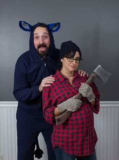 Our 2013 Halloween costume: Paul Bunyan & Babe the blue ox. A great cheap couples costume - only spent $20 on the sweatsuit.
