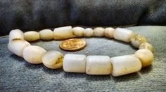 Rare-Very Old alabaster beads from Africa, authentic antique beads medium strand.