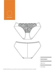 Patron de couture de PDF pour sous-vêtements bref hipster, prévus pour le style et le confort en Lingerie Orange - Montgomery brève