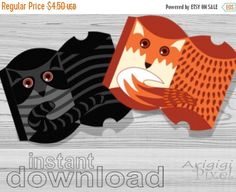 On Sale 50 % OFF Fox and Racoon Pillow Gift Box, Candy Box, Treat Box DIY, Printable Box Template,  Forest Kids Party, set of 4, JPG file  i