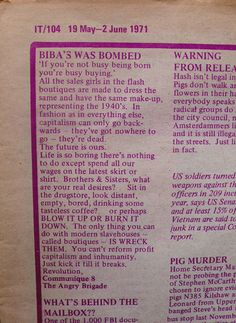 """AngryBrigadeBibaletter450  """"Two years after the most recent flop, Biba's back again, and owners House Of Fraser have attracted some flak for positioning the label as a High Street brand fronted by Daisy Lowe.  On May 1 1971 Barbara Hulanicki's third Biba incarnation was subjected to a serious attack, as confirmed by this, Communique 8 of 12 sent by urban guerillas The Angry Brigade and published in underground magazine IT.  The stock room was damaged and 500 people were evacuated though…"""