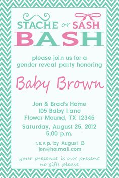 Stache or Sash Bash- gender reveal party invite