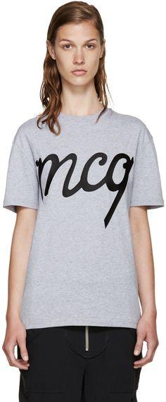 Mcq By Alexander Mcqueen Grey Logo T-shirt Mcq Alexander Mcqueen, Rib Knit, Heather Grey, T Shirts For Women, Logos, My Style, Evolution, Cotton, Shopping