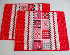 Valentine Quilted Placemats Retro Vintage Style Cherries Set of Two