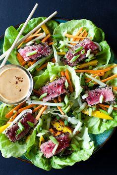 Tuna Wraps with Spicy Peanut Sauce Ahi tuna lettuce wraps with peanut dressing.Ahi tuna lettuce wraps with peanut dressing. Tuna Recipes, Seafood Recipes, Asian Recipes, Dinner Recipes, Cooking Recipes, Kitchen Recipes, Dinner Ideas, Healthy Wraps, Healthy Snacks