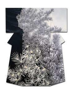 "thekimonogallery: ""Shoin"", a kimono created by artist Yuri Keiko. Jury Prize winner at the (Institute ) Japan Dyers Association Source by ibergere Traditioneller Kimono, Kimono Noir, Mode Kimono, Kimono Fabric, White Kimono, Japanese Textiles, Japanese Patterns, Japanese Fabric, Japanese Design"