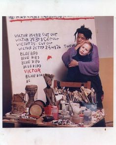 Basquiat and his last girlfriend, Kelle Inman, in 1987 in his studio | Vanity Fair