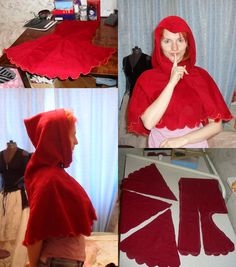 red chaperone by ~Antalika on deviantART~ Great information on making a Hood, and long enough to cut and do embroidery work on!