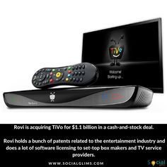 TiVo is getting acquired by Rovi for $1.1 billion ________ You might not know Rovi, but the company is apparently quite big as it is acquiring TiVo for $1.1 billion in a cash-and-stock deal. Rovi holds a bunch of patents related to the entertainment industry and does a lot of software licensing to set-top box makers and TV service providers. It also manages metadata for TV content and sells this data to cable companies.  #technews