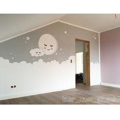 """Babyzimmer Mond & Wolke Gefällt 547 Mal, 39 Kommentare - Kristin (@tuer_zum_glueck) auf Instagram: """"Endlich haben wir das Wandbild im Babyzimmer fertig Hat mich auch nur minimal Nerven gekostet…"""""""