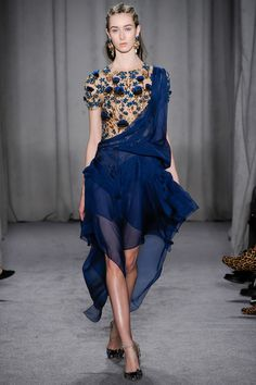 Marchesa Fall 2014 RTW. #Marchesa #Fall2014 #NYFW emroidered and embellished bodice. draped organza skirt swept up to one shoulder.