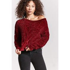 Forever21 Chenille Cable Knit Sweater (€19) ❤ liked on Polyvore featuring tops, sweaters, wine, red long sleeve top, forever 21, extra long sleeve sweater, forever 21 tops and red cable knit sweater