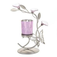 Silver  Purple Butterfly Lilly Candle Holder Metal Sculpture Home Wedding or Party Decor -- Check out the image by visiting the link.Note:It is affiliate link to Amazon.