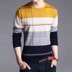 Uwback 2017 New Brand Sweater Men Plus Size Long Sleeve Plaid Wool Blends Pullovers Homme Slim Warm Tops Pull Femme 3XL TA120