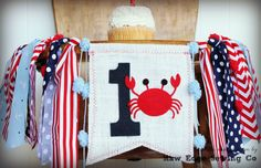 CRAB High Chair Highchair Birthday Banner by RawEdgeSewingCo