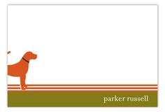 Fresh Press Orange Dog Days Flat Note Card : Personalized Stationery