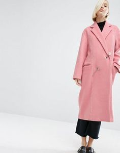 ASOS WHITE Wool Mix Overcoat With Pearl Fastening