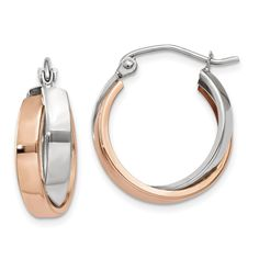 14k Rose and White Gold Polished Oval Hoop Earrings by Versil