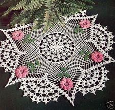 Vintage Crochet PATTERN to make Irish Rose Flower Doily Centerpiece RosePoints