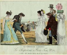 Aaron Martinet, Plate an elegant French couple, bowing gracefully, meet an English family while horses race in the background; the man doffs his hat while the two English women hold their noses in the air. Regency Dress, Regency Era, 1800s Fashion, Vintage Fashion, Caricatures, Georgette Heyer, Georgian Era, 20th Century Fashion, Wildlife Art