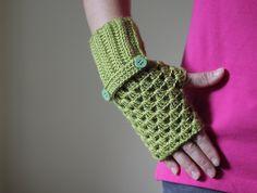 25 OFF  Women Fingerless Gloves in green Crochet by SENNURSASA