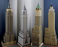 LEGO models of NYC skyscrapers from the Art Deco era [misc] : architecture Architecture Collage, Architecture Design, Minecraft Building Guide, Minecraft Ideas, Cool Symbols, New York City Buildings, Lego Models, Building Facade, Interior Garden