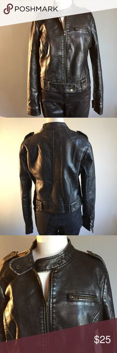 "XXI Vegan Leather Moto Jacket In fabulous condition this Moto has a cool pewter finish. Bust measures 41"", waist 37"" jacket length is 20"". XXI Jackets & Coats"
