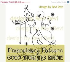 ON SALE Good Morning Birdie 15018 - Cute Embroidery Pattern - PDF download - Whimsical design