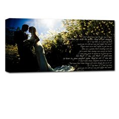 Your photo and vows hung over the bed as decoration and reminder of your wedding day!
