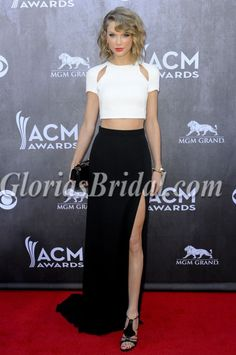 Taylor Swift Ivory And Black Evening Dress 2017 Acm Awards Red Carpet