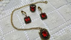 Sarah Coventry Majorca 1969 Ring Clip Earrings and Necklace Royal Red
