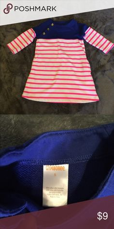 Cute Gymboree tunic Pink and white striped shirt with blue on the top and gold buttons, size 5, good condition and gently used. Gymboree Shirts & Tops