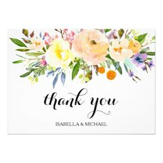 Chic Yellow Floral Wedding Thank You Card - wedding thank you gifts cards stamps postcards marriage thankyou