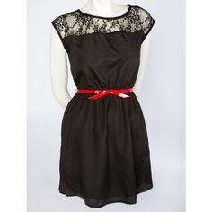 Lace Shoulder Belted Dress - Dressy - Dresses