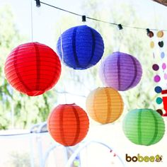 Bobee's colorful birthday decorations are perfect for girls or for boys parties. Easy to assemble, paper lanterns store flat as reusable birthday supplies. Metal expander with c-hook included for ease