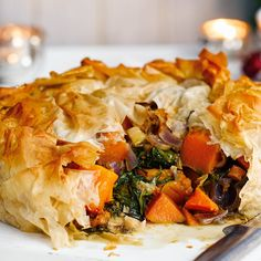 This impressive vegetarian pie recipe is packed with so many rich, hearty flavours. An excellent alternative Christmas main, you can even make it a month in advance and cook it straight from frozen.   Tesco