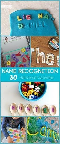 30 Name Recognition Activities - 30 name recognition activities for kids! Lots of really fun, clever and unique hands on learning activities for toddler, preschool, prek, and kindergarten age kids to learn their name and how to spel. Kindergarten Name Activities, Name Writing Activities, Preschool Names, Preschool Writing, Preschool Activities, Preschool Centers, Learning Activities For Toddlers, Number Activities, Hands On Learning Kindergarten
