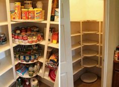 Add one or several lazy susans to your pantry and maximize your storage! When you're looking to solve a storage problem, think outside the box and go 'circular! Pantry Storage, Kitchen Organization, Kitchen Storage, Organizing, Kitchen Pantry, Diy Kitchen, Corner Pantry, Corner Storage, Corner Cupboard