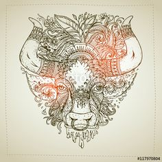Vector: Hand drawn Ornamental Tattoo Bull Head. Highly Detailed Abstract Isolated.