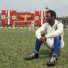 Pelé  Escape to Victory, known simply as Victory in North America, is a 1981 film about Allied prisoners of war who are interned in a German prison camp during the Second World War who play an exhibition match of football against a German team. The film was directed by John Huston and starred Michael Caine, Sylvester Stallone, Max von Sydow, Daniel Massey and Pelé.