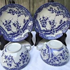 Vintage Porcelain Cups Saucers Asian Cherry Blossoms Berries Blue White  offered by Ruby Lane shop Saltymaggie's Treasures