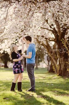 Cherry Blossom engagement photoshoot! Love the warmth!