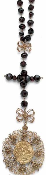 Rosary of the Wounds of Jesus on the cross.  First half century 19th century.  Garnet and gold filigree.