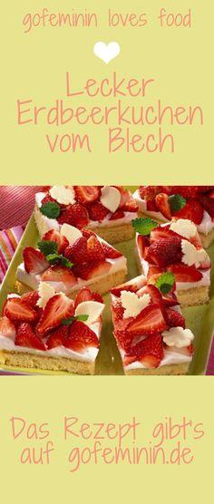 Wer hat Lust auf Blechkuchen? Hier gibt's lecker Erdbeerkuchen und noch viel mehr: http://www.gofeminin.de/kochen-backen/blechkuchen-rezepte-d58518.html  #erdbeerkuchen #kuchen